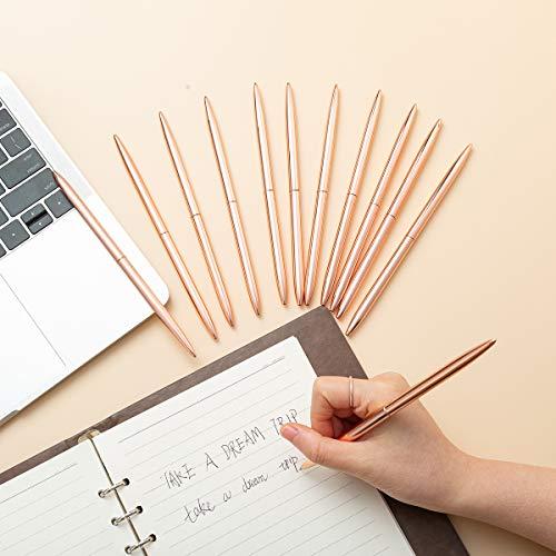 FUHGKG 12 PCS Desk Ballpoint Pens Rose Gold Pen Set - Rose Gold Ballpoint Pen Lightweight Metal Black Ink - Rose Gold Office Supplies (12pcs) Photo #4