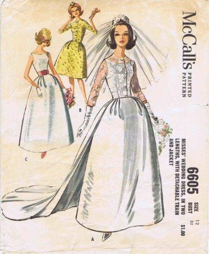 McCall's 6605 Brides Wedding Dress Detachable Train Jacket 1960s Vintage Sewing Pattern Size 12 Bust 32