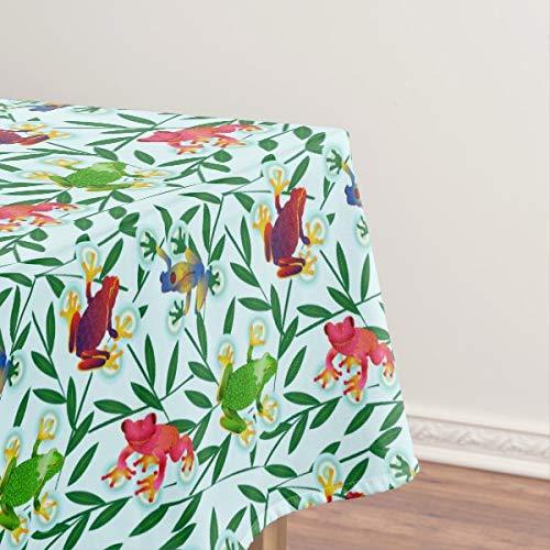 Frösche Tropische Dschungel-Tischdecke, öldicht, auslaufsicher, saubere Tischdecke für Esstisch 137,2 x 182,9 cm