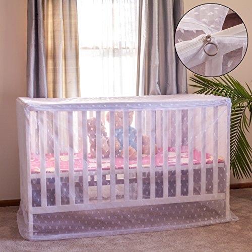 Premium Portable Baby Mosquito Net for Baby Cribs, Cover Tent with Bonus eBook, Storage Bag, Durable Diamond Mesh, Tie Ribbons, Dual-Direction Zipper, and Drawstring