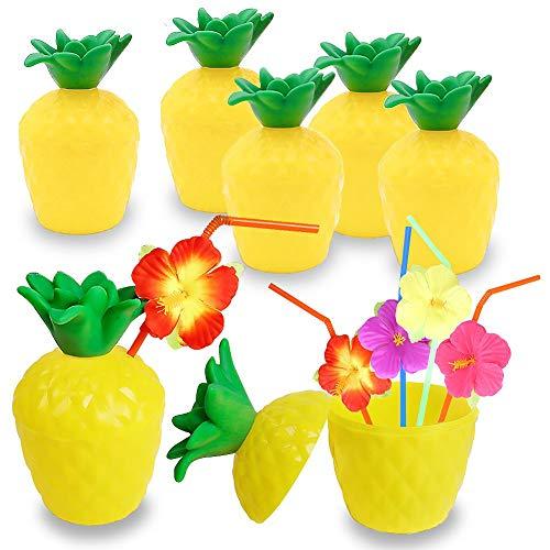 Happyshop18 Tropische Ananas Kunststoff Trinkbecher für Hawaii Luau Party Gastgeschenk Kinder Sommer Strand Party inkl. Strohhalme