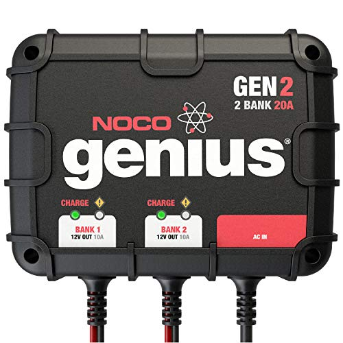 NOCO Genius GEN2, 2-Bank, 20-Amp (10-Amp Per Bank) Fully-Automatic Smart Marine Charger, 12V Onboard Battery Charger And Battery Maintainer