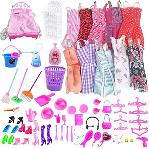 hgni 2021 Nuevo 70 PC/Conjunto de muñecas de Vestir Juguetes Hermosa Ropa de Vestir Muñeca Dress Up Safety Fashion Muñeca Accesorios Regalos para niños (Zapatos de Ropa Cama Mueble)