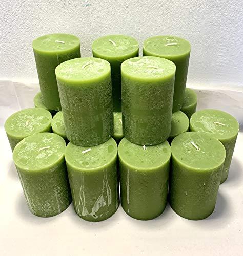 P. Parcan Rustik 5,5 kg Kerzenpaket Stumpenkerzen 18 Wachskerzen, 10 x 7 cm, Olive, grün