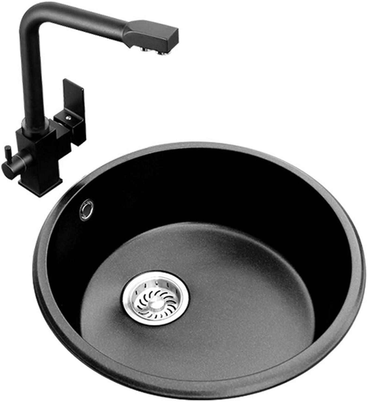RJLI Küchenspülen Spülbecken Quarzstein Spüle Hause Umkehrbecken 1 Schüssel runde Single-Slot-Spüle Spüle Reversible Inset Kitchen Sink Küchenspülen (Farbe   schwarz, Größe   42  42  20cm)