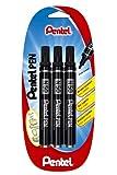 Pentel N50 Lot de 3 Marqueurs Permanents Pointe Conique Noir