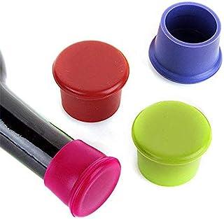 MIA-MOON ワイン栓 ワインストッパー ボトルキャップ 瓶 栓 シリコン製 ボトルを寝かしてもこぼれない 3個セット(色ランダムに出荷)