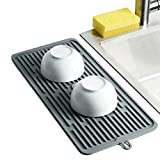 Dish Mat Silicone Dish Drying Mats Works For Drying Stemware Cocktail Glasses Silverware Pots Pans Knives and Dish Rack for Kitchen Counter Sink Bar Pads Easy to Clean 17.3'7.9'0.2' (Gray)