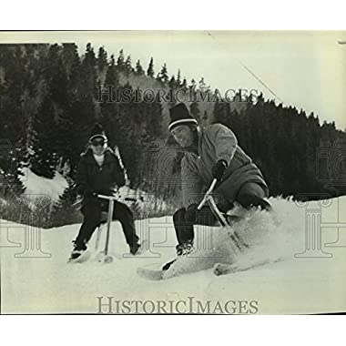 Historic Images Press Photo Jean-Claude Kelly going downhill on a ski-bike contraption - 7.5 x 9 in