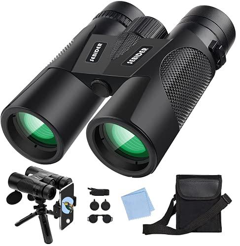 Binocolo 12x42 HD Binocoli per Adulti Portabile Telescopio con Treppiede, Adattatore per Smartphone,...