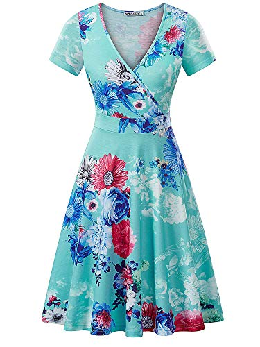 MSBASIC Vintage Prom Dress Bachelorette Waist Dress Semi Formal Dresses for Women Green Floral M