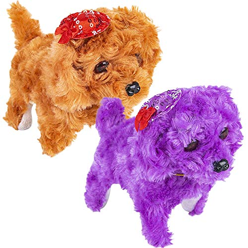 ArtCreativity Barking Puppy Toy for Kids, Set of 2, Battery Operated Toy Dogs with Walking, Squeaking, and Light Up Effects, Cute Fuzzy Design, Unique Birthday Gifts for Boys and Girls