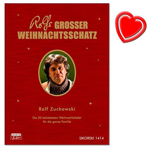 Rolfs großer Weihnachtsschatz - 50 beliebtesten Weihnachtslieder für die ganze Familie von Rolf Zuckowski - Liederbuch mit bunter herzförmiger Notenklammer