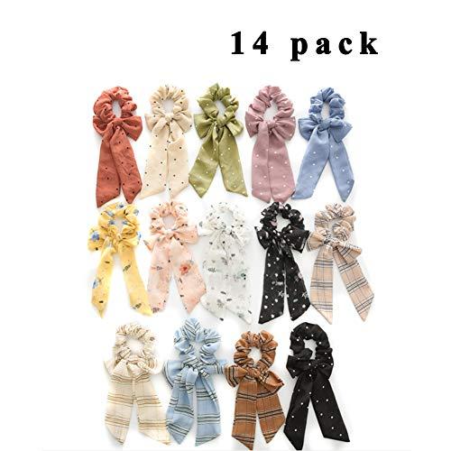XXLHH Haar Sjaals voor Vrouwen Meisjes, 14 Stks Dubbele Laag Bow Scrunchies voor Haar Bunny Oor Scrunchies met Verschillende kleuren, Elegante Sjaal Haar Ties Strik Paardenstaart Houder voor Party Travel Dagelijks