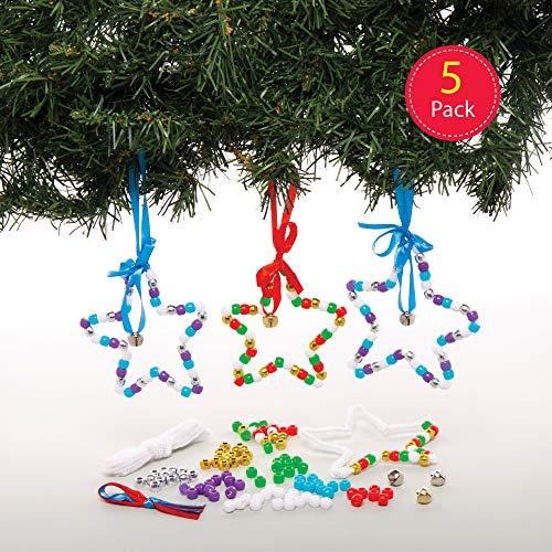 Baker Ross AT206 Kerstballen ster knutselset (5 stuks) decoratieve hanger knutselen voor kinderen, gesorteerd