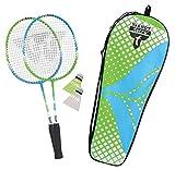 Talbot Torro Set de Badminton 2 Attacker Junior para Niños, 2 Raquetas Más Cortas 53 cm, 2 Volantes, en un Valioso Bolso, 449401