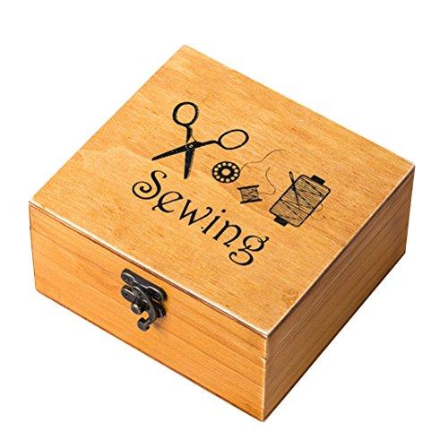 Rosenice Costurero de madera retro, accesorios de costura para manualidades