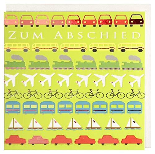Abschiedskarte Autos Fernweh Flugzeuge Busse Eisenbahnen Schiffe