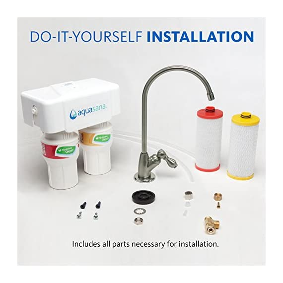 Aquasana AQ-5200.55 2-Stage Under Sink Water Filter System with Brushed Nickel Faucet 8 Removes up to 99% of 77 contaminants including lead, mercury, asbestos, herbicides, pesticides, pharmaceuticals, and more Nothing added and zero waste - no water is wasted and no harmful contaminants are added to your water during filtration Only 10 cents per gallon - 12 times the capacity of the leading gravity pitcher. Healthy, clean water for less
