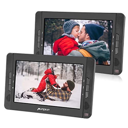 PUMPKIN Lettore DVD portatile per bambini, uso per casa e auto, poggiatesta con doppio schermo da...