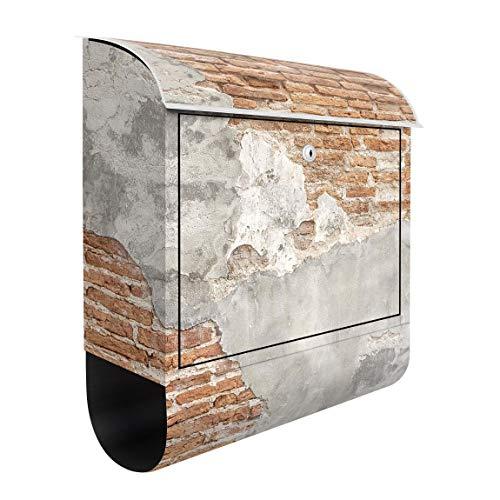 Bilderwelten Briefkasten mit Zeitungsrolle Shabby Backstein Wand 46cm x 39cm
