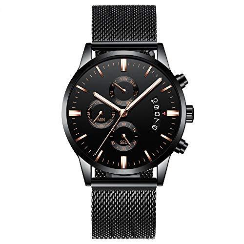 Voigoo Herren Calander wasserdichte Sport-Armbanduhr mit Milan Band Armee Chronograph Quarz Schwer Uhren Mode männlicher Uhr