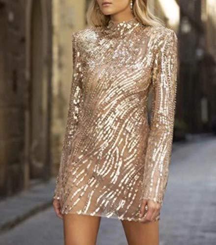Jurk Women'S Sequined Coltrui jurk met lange mouwen