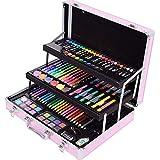 Kinderzeichenstift-Set Set Aquarell Stift Künstlerbedarf Pinsel Kinder Graffiti Malerei Schwarz-Grundschule Aktivität Geschenk Tragbare Malset (Farbe : Pink, Size : 37x28x9cm) -
