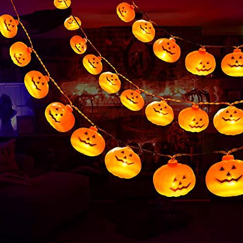 Halloween Decorations 19.7Ft 40 LED Pumpkin String Lights, Halloween...