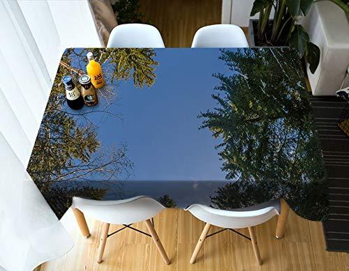 XXDD Mantel 3D Small Creek Sunset Glow Paisaje Patrón Lavable Algodón Rectangular Mantel Variación Textil para el hogar A6