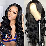 """Lace Front Wigs Human Hair Body Wave Middle T Part Wig Brazilian Virgin Human Hair Wigs Per Plucked with Baby Hair For Black Women Natural Color(22""""body)"""