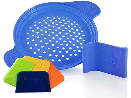 Spätzlereibe mit Spezialschaber für lange und kurze Spätzle und 4 Teigkarten, blau