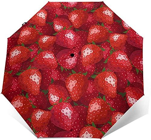 Paraguas Automático De Tres Pliegues Protector Solar Impermeable Personalizado Robusto Viaje A Prueba De Viento Paraguas Ligeros Para Mujeres Y Hombres-Rojo Fresa-Talla Única, Beauty Tall Canyon