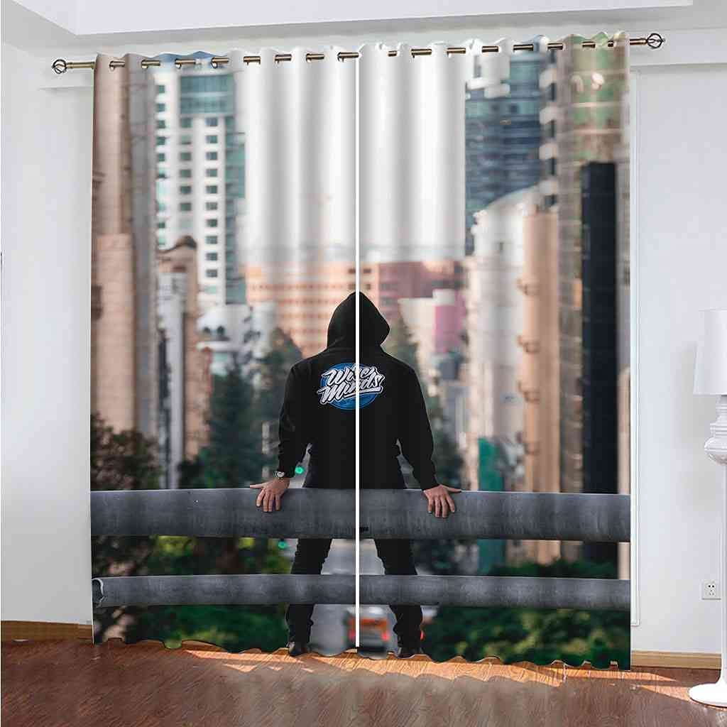 CJKTEZ 100% Blackout Outstanding Curtains Room Darkening City Drapes Inventory cleanup selling sale Street