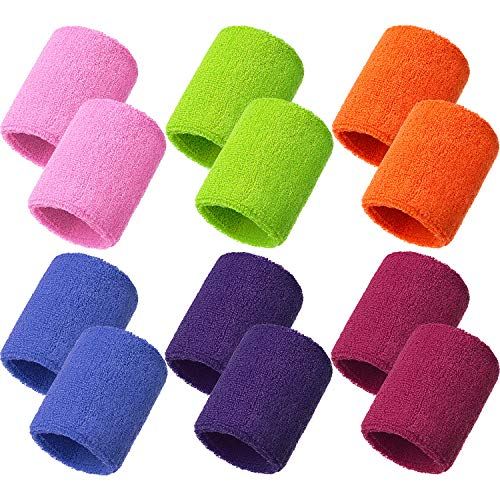 Bememo 12 Packung Schweißbänder Sport Armband Baumwolle Schweißband für Männer und Damen, Gut für Tennis, Basketball, Laufen, Gym, Ausarbeiten (Mehrfarbig)
