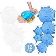CISHANJIA Dehnbare Silikondeckel,12er-Packung Silikon Stretch Deckel,BPA-frei und Wiederverwendbar für Verschiedene Größen und Formen von Behältern,Sicher in Spülmaschine,Mikrowelle und Gefrierschrank