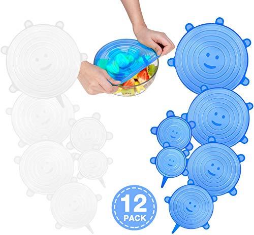 CISHANJIA Silikondeckel Dehnbar, 12er Dehnbare Silikondeckel BPA-frei Wiederverwendbar für Verschiedene Größen und Formen von Behältern, Sicher in Spülmaschine, Mikrowelle, Gefrierschrank(Blau Weiss)