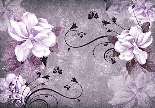 wandmotiv24 Fototapete Blüten Beton Ornament Violett XXL 400 x 280 cm - 8 Teile Fototapeten, Wandbild, Motivtapeten, Vlies-Tapeten Blumen, Weiß M1641