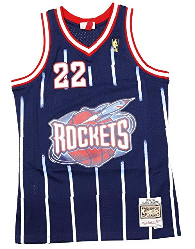 Mitchell & Ness Clyde Drexler #22 Houston Rockets 1996-97 Swingman NBA Trikot Navy, L