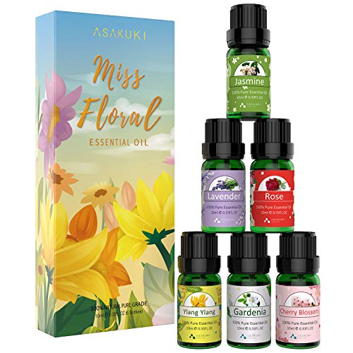 ASAKUKI 500ML Essential Oil Diffuser with Floral Oils Set Includes Lavender, YlangYlang, Rose, Jasmine, Cherry Blossom, Gardenia
