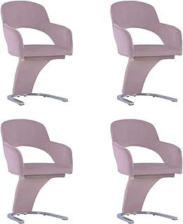 vidaXL - Juego de 4 sillas de comedor, sillas de comedor, sillas de comedor, sillas de comedor, muebles de cocina, asiento de cocina, casa interior, color rosa terciopelo