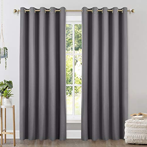 NICETOWN Bedroom Curtains Blackout Drapery Panels, Three Pass Microfiber Thermal Insulated Solid Ring Top Blackout Window Curtains/Drapes (Two Panels, 70 x 84 inches, Gray)