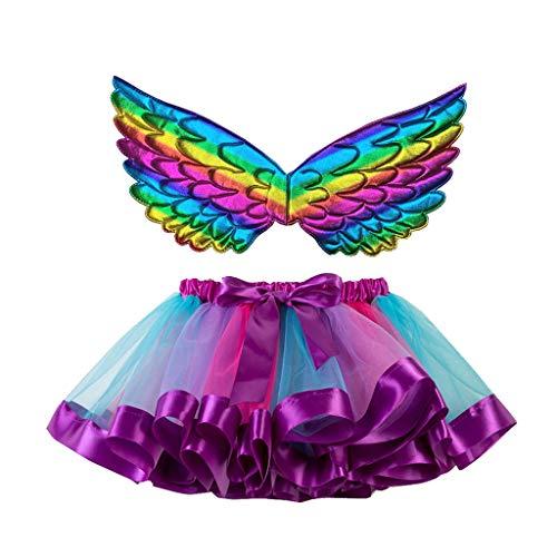 Lazzboy Kinder Mädchen Ballettröckchen Weihnachtsfeier Tanz Ballett Kleinkind Kostüm Rock + Flügel Sets Mesh Regenbogen Prinzessin Tutu Performance(Lila,L)