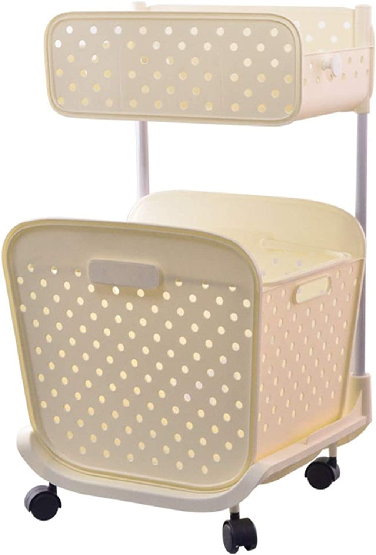 ZDNALS Double Shelf Plastic Hollow Laundry Basket Kitchen Bathroom Storage Rack -43×36×75CM Storage Basket (color   White)
