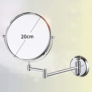 Wall-Mounted Double-Sided Make-up Mirror Bathroom Folding Telescopic Beauty Mirror 3 Times Magnifying Glass Stainless Steel 360 Rotation