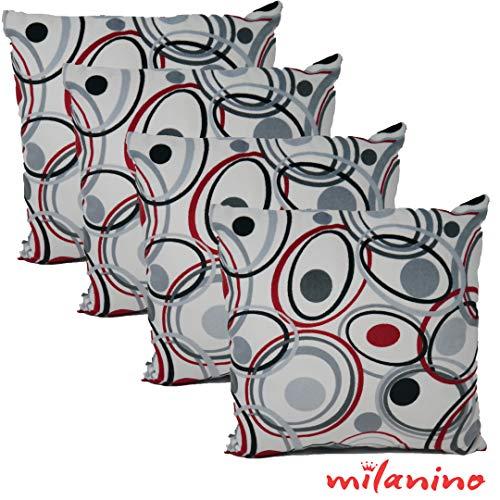 Milanino 4er Set Dekokissen mit Füllung und Bezug | 40x40 cm | Premium Füllkissen samtweich Sofakissen Couchkissen Zierkissen mit Kissenhülle | pflegeleicht | mit Reißverschluss | Design (1)