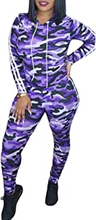 FSSE Womens Casual Sport Hoodie 2 PCS Outfits Camo Tracksuits Sweatsuits Sets