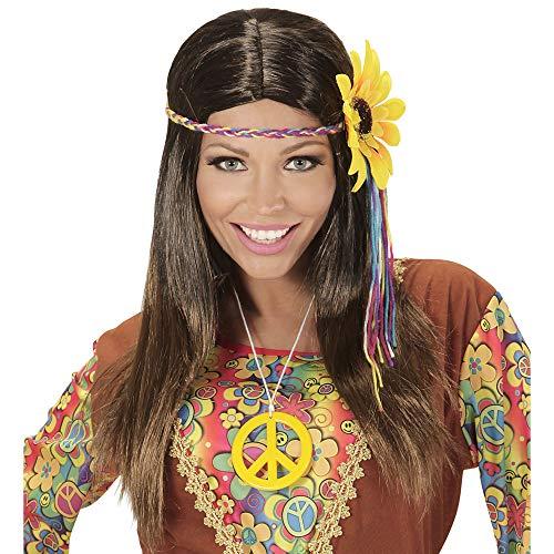 Widmann 04657 pruik Hippie, dames, bruin, één maat