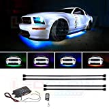 LEDGlow 4pc Million Color Multi-Color LED Underbody Underglow Accent Lighting Kit for Cars - 18 Solid Colors - 12 Unique Patterns - Music Mode - Water Resistant Tubes - Includes Control Box & Remote