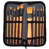 nuoshen Acrylic Paint Brush Set - 10 Brushes in Wallet ,Ideal Paint Brush